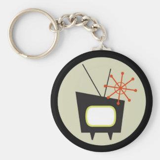 Rétro 1950 porte - clés de poste TV Porte-clé Rond