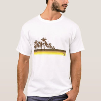 Rétro 80s Brown/paumes d'or T-shirt