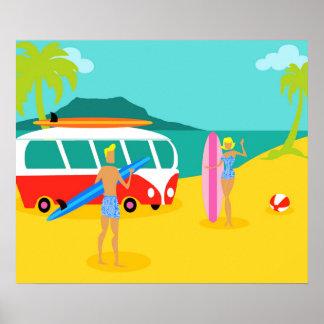 Rétro affiche de couples de surfer