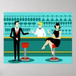 Rétro affiche de salon de cocktail