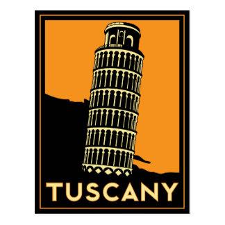 Rétro affiche de voyage d art déco de la Toscane I Cartes Postales