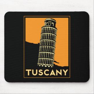 Rétro affiche de voyage d art déco de la Toscane I Tapis De Souris