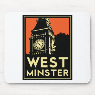 rétro affiche de voyage d art déco de Westminster Tapis De Souris