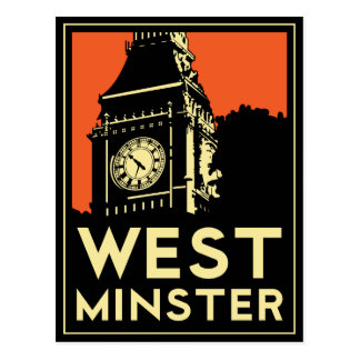 rétro affiche de voyage d'art déco de Westminster Cartes Postales