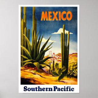 Rétro affiche de voyage du Mexique de style