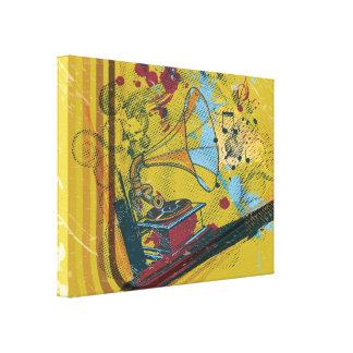 Rétro affiche d'impression de toile de phonographe toile tendue sur châssis