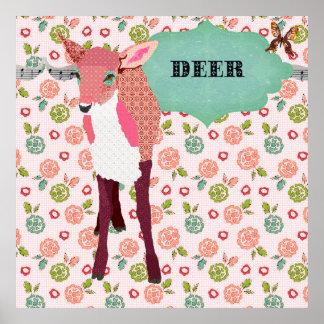 Rétro affiche florale de cerfs communs assez roses
