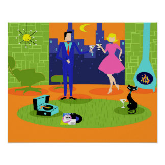 Rétro affiche romantique de couples de soirée poster