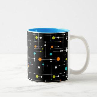 Rétro âge d'espace de noir de hippie 11 onces mug bicolore