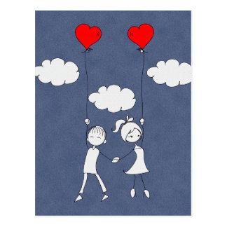 Rétro amoureux d'amour de Valentine Carte Postale