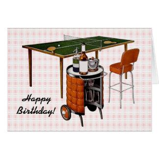 Rétro amusement des années 1950 et anniversaire de carte de vœux