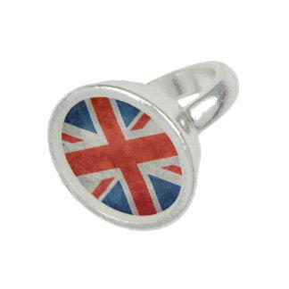 Rétro anneau d'argent de style de drapeau bague avec photo