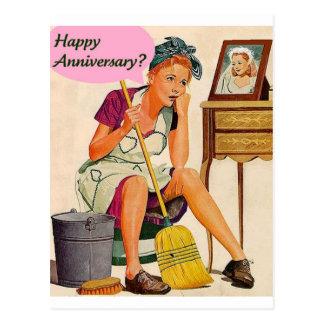 Rétro anniversaire de femme au foyer carte postale