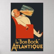 Rétro annonce française Le Bon Bock de bière Poster
