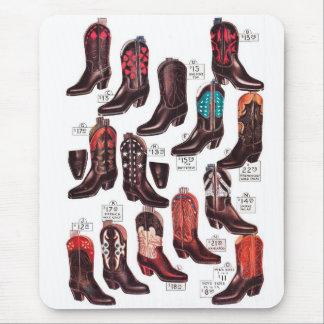 Rétro annonce vintage de catalogue de bottes de tapis de souris