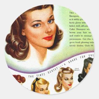 Rétro annonce vintage de les années 50 Tintz Sticker Rond