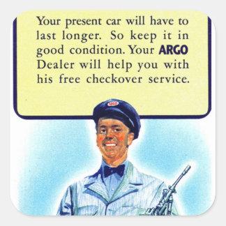 Rétro annonce vintage de station service de gaz autocollant carré