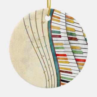 Rétro antiquité de couleurs de piano onduleux ornement rond en céramique