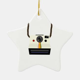 rétro appareil-photo avec la courroie ornement étoile en céramique