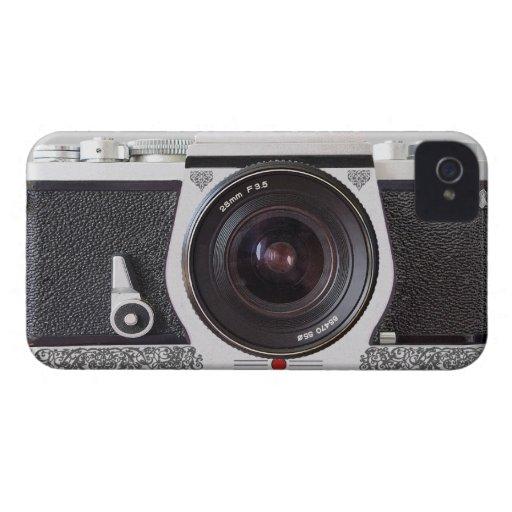 Rétro appareil-photo avec l'iPhone 4 de chrome de  Coques iPhone 4