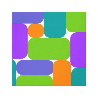 Rétro art abstrait vert, pourpre, bleu toiles
