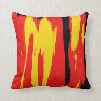 Rétro art déco abstrait rouge jaune noir coussin