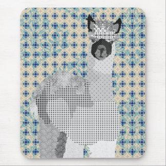 Rétro art noir et bleu Mousepad d alpaga Tapis De Souris