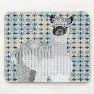 Rétro art noir et bleu Mousepad d'alpaga Tapis De Souris