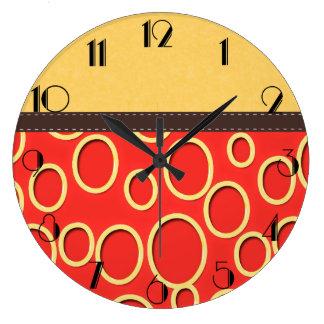 Rétro art orange et jaune les années 70 inspiré grande horloge ronde