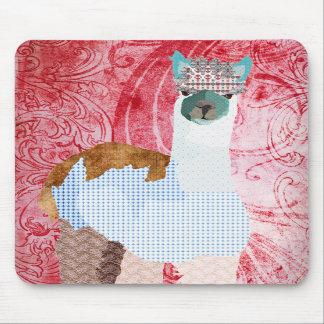 Rétro art rouge Mousepad d'alpaga Tapis De Souris