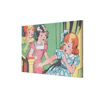 Rétro art vintage de bande dessinée de petites fil toiles tendues