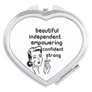 Rétro autorisation d'arc de doigt de femme miroir de poche