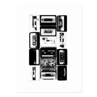 Rétro b&w de groupe de cassette audio carte postale
