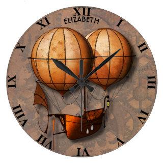 Rétro ballon à air vintage de Steampunk avec le Grande Horloge Ronde