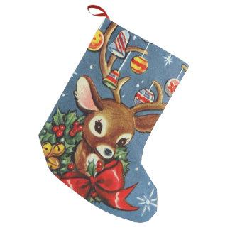 Rétro bas vintage de décor de renne de Noël Petite Chaussette De Noël