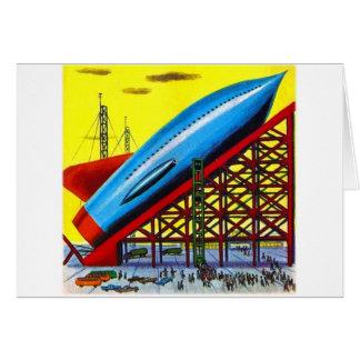 Rétro bateau vintage de Rocket de bande dessinée Carte De Vœux