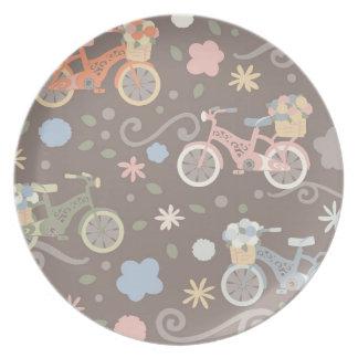 Rétro bicyclette et fleurs assiettes en mélamine
