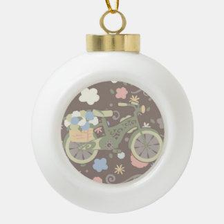 Rétro bicyclette et fleurs boule en céramique