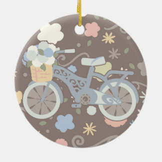 Rétro bicyclette et fleurs ornement rond en céramique
