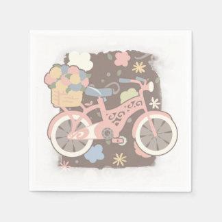 Rétro bicyclette et fleurs serviette en papier