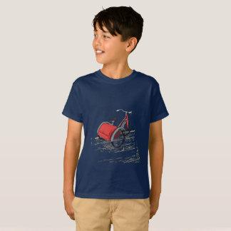 Rétro bicyclette sur le T-shirt facile de bleu