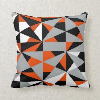 Rétro blanc noir orange génial audacieux coussin