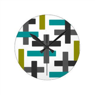 Rétro bleu, vert, abrégé sur gris horloge ronde