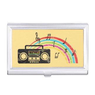 Rétro boombox avec la musique et l'arc-en-ciel boîtiers pour cartes de visite