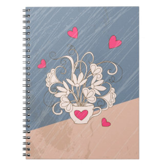 rétro bouquet in the cup with hearts carnets