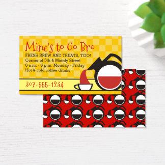 rétro café de versement de damier de jaune de pot cartes de visite