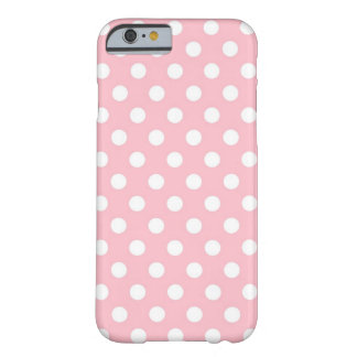 Rétro caisse rose et blanche de l'iPhone 6 de pois Coque Barely There iPhone 6