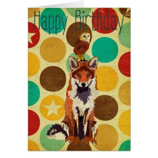 Rétro carte d'anniversaire de Fox et de hibou