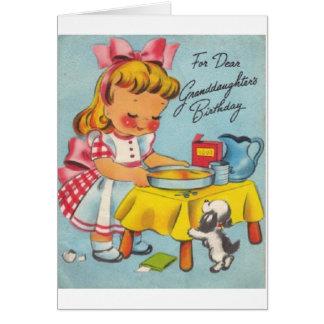 Rétro carte d'anniversaire de petite-fille