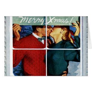 Rétro carte de baiser de couples de Noël